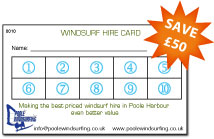 Promotion for £50 off windsurf hire in Poole Harbour, making the best price even cheaper - Poole Windsurfing