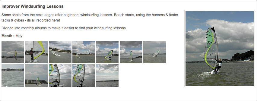 The New Photo Gallery of Windsurfing Lessons & Windsurf Hire
