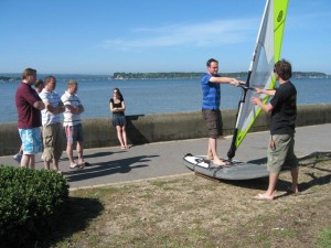 Beginners windsurfing simulator session