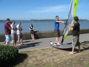 Beginners windsurfing simulator session