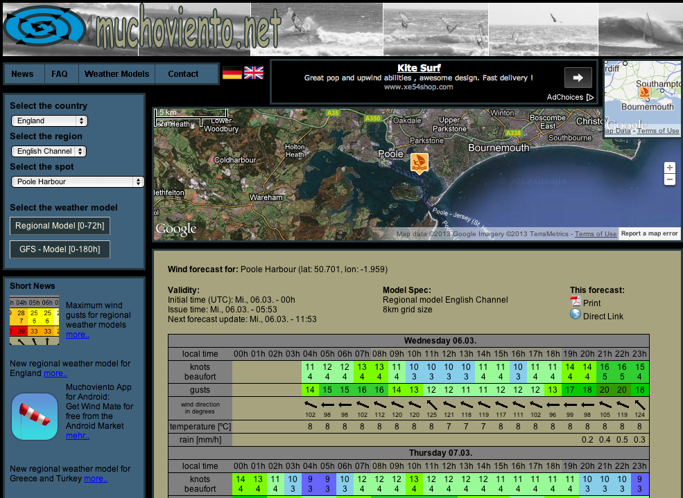 New Detailed Wind & Weather Forecast For Poole Harbour