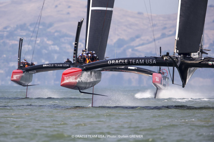 AC 72, foil catamaran from team oracle, frontal view.