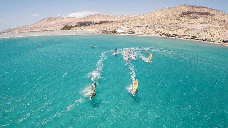 Aerial image of windsurfers off of Sotavento, Fuerteventura
