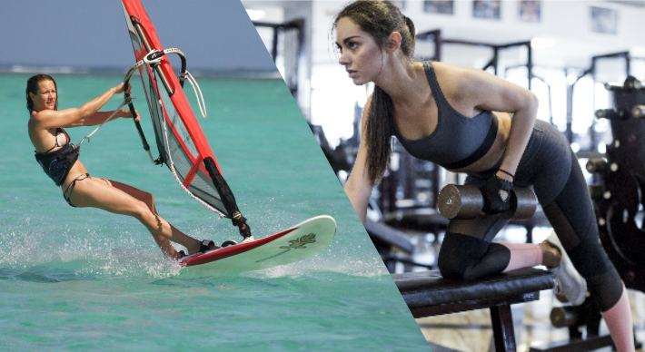 A women windsurfing and exercising at the gym. Collage.