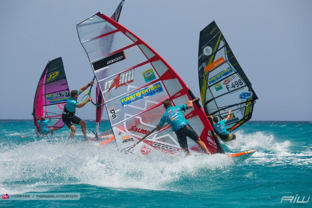 Image from a Slalom race from 2018 Fuerteventura Grand Slam.