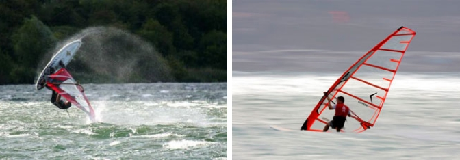 Slow and fast shutter speed in windsurfing photos