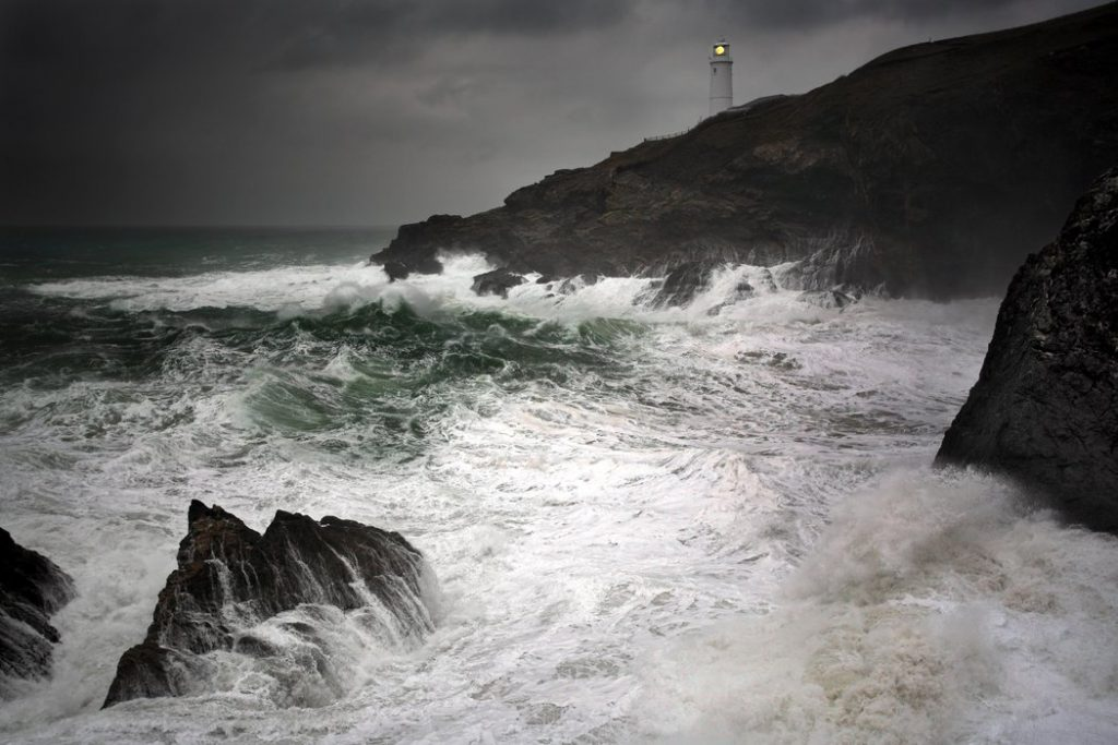 Storm at Trevose Lighthouse, Trevose Head, Cornwall, UK